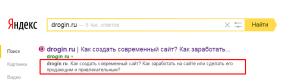 Сниппет в поисковой выдаче. Drogin.ru