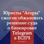 Юристы «Агоры» смогли обжаловать решение суда о блокировке Telegram