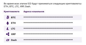 Криптовалюта, принимаемая на всех этапах ICO